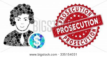 Mosaic Corrupt Judge And Corroded Stamp Watermark With Prosecution Caption. Mosaic Vector Is Compose
