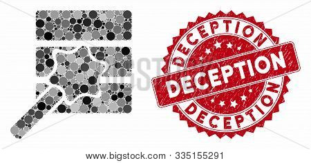 Mosaic Database Wizard And Corroded Stamp Seal With Deception Phrase. Mosaic Vector Is Composed With