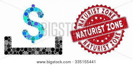Mosaic deposit placement and rubber stamp seal with Naturist Zone text. Mosaic vector is composed from deposit placement icon and with randomized circle spots. Naturist Zone stamp seal uses red color, poster