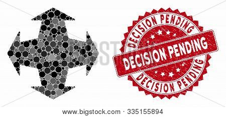 Mosaic Directions And Grunge Stamp Seal With Decision Pending Phrase. Mosaic Vector Is Formed With D