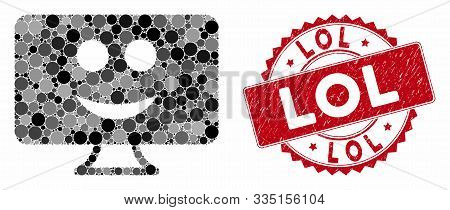 Mosaic Display Smile And Grunge Stamp Seal With Lol Caption. Mosaic Vector Is Formed With Display Sm