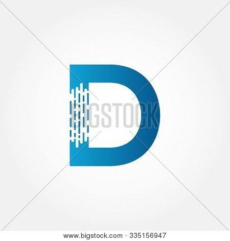 Brush Letter D Logo Design Vector Template. Abstract Dots Letter D Logo. Creative Brush Alphabet D L