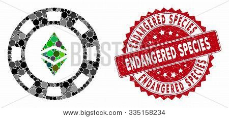 Mosaic Ethereum Casino Chip And Rubber Stamp Seal With Endangered Species Phrase. Mosaic Vector Is D