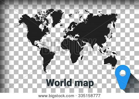 Map Of World, Black Map On A Transparent Background. Alpha Channel Transparency Simulation In Png. V
