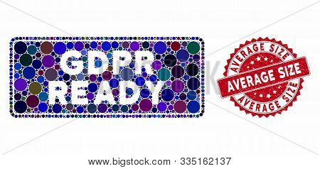 Mosaic Gdpr Ready Rounded Rectangle And Corroded Stamp Seal With Average Size Caption. Mosaic Vector