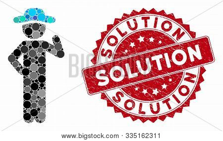Mosaic Gentleman Proposal And Distressed Stamp Seal With Solution Phrase. Mosaic Vector Is Formed Fr