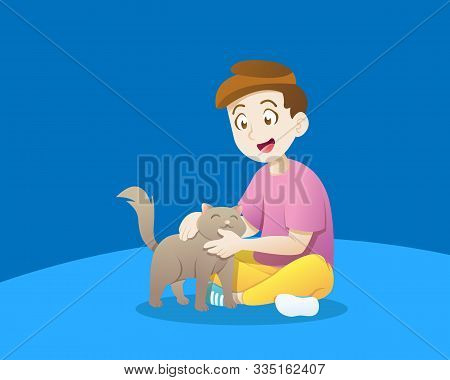 Little Boy Playing With A Cat. Vector Illustration Of Kid Playing With Cat