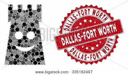 Mosaic Glad Fort Tower And Rubber Stamp Seal With Dallas-fort Worth Text. Mosaic Vector Is Created F