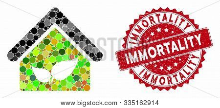 Mosaic Greenhouse And Grunge Stamp Seal With Immortality Caption. Mosaic Vector Is Composed With Gre