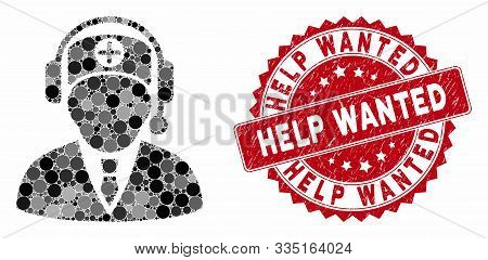 Mosaic Hospital Operator And Grunge Stamp Seal With Help Wanted Phrase. Mosaic Vector Is Composed Wi