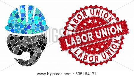 Mosaic Industrial Operator And Rubber Stamp Watermark With Labor Union Text. Mosaic Vector Is Formed