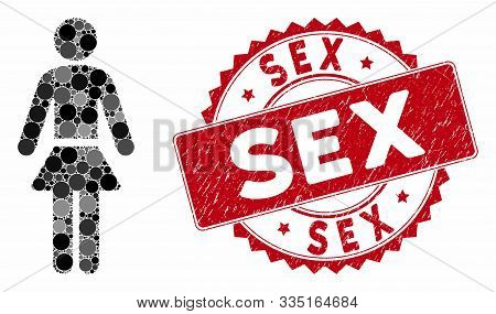 Mosaic Lady And Grunge Stamp Watermark With Sex Caption. Mosaic Vector Is Created With Lady Icon And