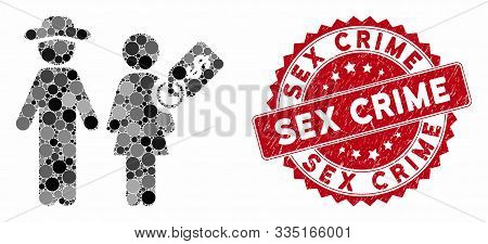 Mosaic Marriage Of Convenience And Distressed Stamp Watermark With Sex Crime Text. Mosaic Vector Is