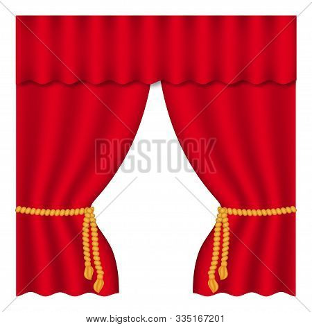 Theater Curtain On White Background. Theater Stage. Decoration Element. Classic Cover Design For Dec