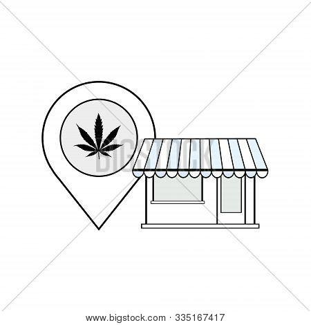 Dispensary Store Map Location Address Vector Black Line Art Symbols On White Background For Commerci