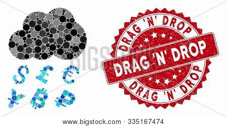 Mosaic Money Rain And Distressed Stamp Watermark With Drag N Drop Phrase. Mosaic Vector Is Composed