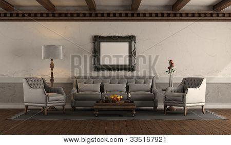 Elegant Living Room In Retro Style With Classic Armchairs And Sofa Against Old Wall - 3d Rendering