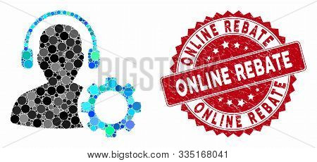 Mosaic operator configuration gear and corroded stamp seal with Online Rebate phrase. Mosaic vector is composed with operator configuration gear icon and with scattered round elements. poster