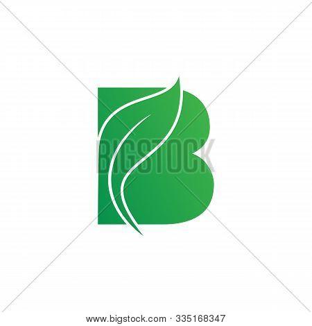 Natural Letter B Modern Alphabet Green Logo Vector With Leaf. Organic Leaf Letter B Green Logo. Agri