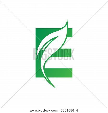 Natural Letter E Modern Alphabet Green Logo Vector With Leaf. Organic Leaf Letter E Green Logo. Agri