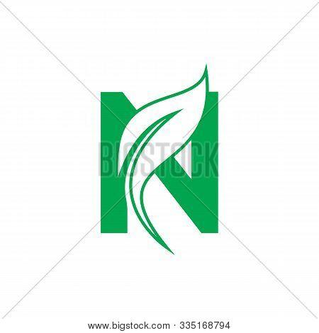 Natural Letter N Modern Alphabet Green Logo Vector With Leaf. Organic Leaf Letter N Green Logo. Agri