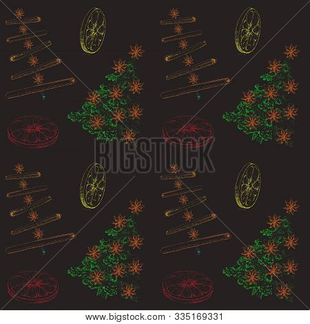New Year's Pattern Of Christmas Trees, Cinnamon And Oranges