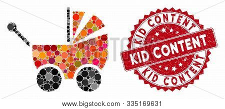 Collage Pram And Rubber Stamp Seal With Kid Content Caption. Mosaic Vector Is Composed With Pram Ico