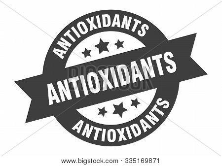Antioxidants Sign. Antioxidants Black Round Ribbon Sticker