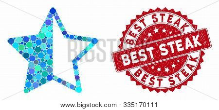 Mosaic Rating Star And Grunge Stamp Seal With Best Steak Text. Mosaic Vector Is Composed With Rating