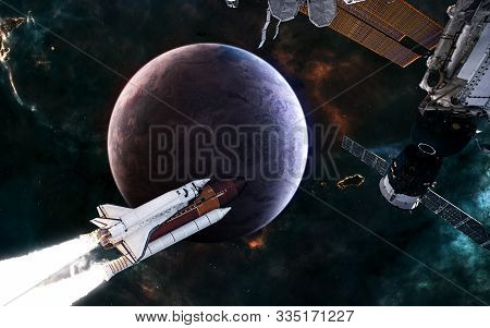 Planet Of Deep Space. Space Station, Shuttle On Background Of Exoplanet. Science Fiction. Elements O