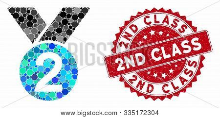 Mosaic Silver Medal And Rubber Stamp Seal With 2nd Class Text. Mosaic Vector Is Composed With Silver