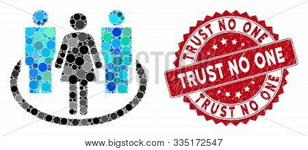 Collage Society And Grunge Stamp Seal With Trust No One Caption. Mosaic Vector Is Composed With Soci