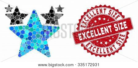 Mosaic Stars Hit Parade And Rubber Stamp Seal With Excellent Size Text. Mosaic Vector Is Designed Wi