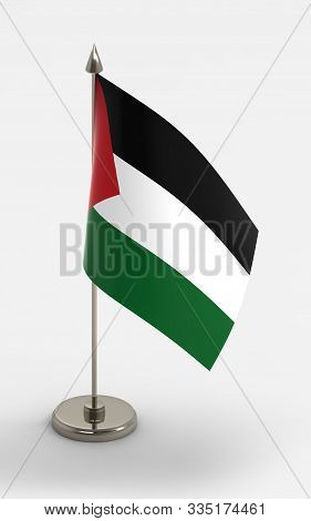 Palestine Table Flag On A White Background. Palestine Flag; 3d Render.