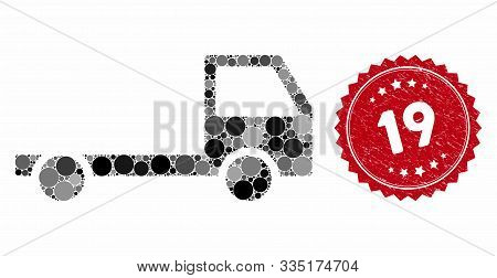 Mosaic truck chassis and rubber stamp seal with 19 caption. Mosaic vector is formed with truck chassis icon and with random circle spots. 19 seal uses red color, and rubber texture. poster