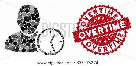 Mosaic User Temporary Clock And Corroded Stamp Watermark With Overtime Caption. Mosaic Vector Is Cre