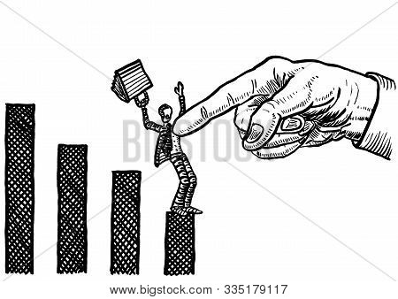 Freehand Drawing Of Giant Hand With Pointing Index Finger Stopping A Business Man At End Of Negative