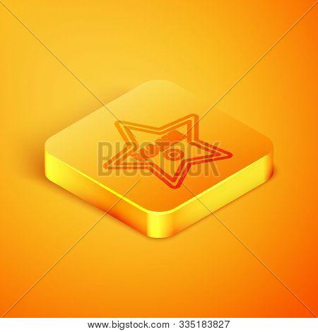 Isometric Line Hollywood Walk Of Fame Star On Celebrity Boulevard Icon Isolated On Orange Background