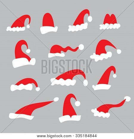 Santa Hats . Christmas  Doodle Elements  In Flat Cartoon Style For Your Festive  Winter Design. Merr