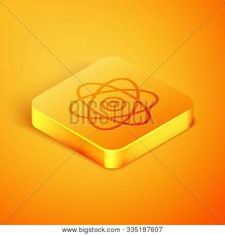 Isometric Line Atom Icon Isolated On Orange Background. Symbol Of Science, Education, Nuclear Physic