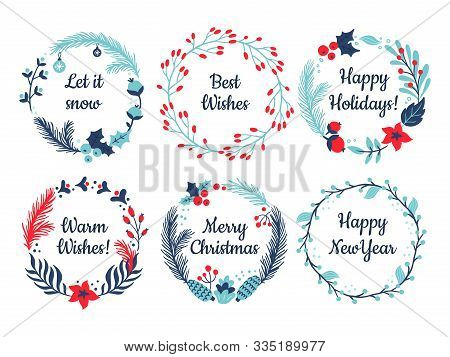 Set Of Hand-drawn Round Banners With Christmas Wishes. Vector Illustration On New Year Theme. Great