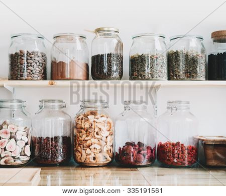 Organic Bulk Products In Zero Waste Shop. Foods Storage In Kitchen At Low Waste Lifestyle. Dried Ber