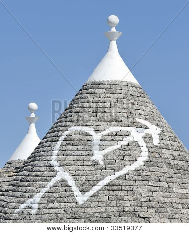 Love heart painted on house roof