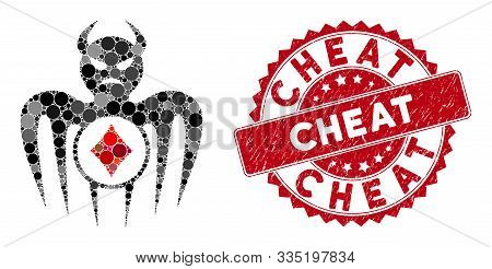 Mosaic Gambling Spectre Devil And Distressed Stamp Seal With Cheat Caption. Mosaic Vector Is Created