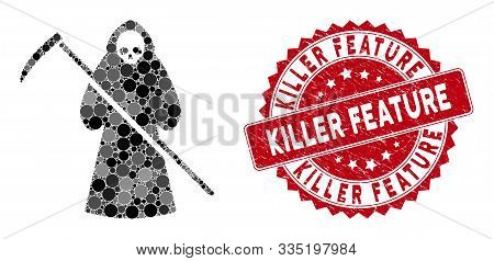 Collage Scytheman And Grunge Stamp Seal With Killer Feature Phrase. Mosaic Vector Is Designed From S