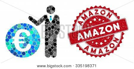 Collage Euro Economist And Rubber Stamp Seal With Amazon Text. Mosaic Vector Is Formed With Euro Eco