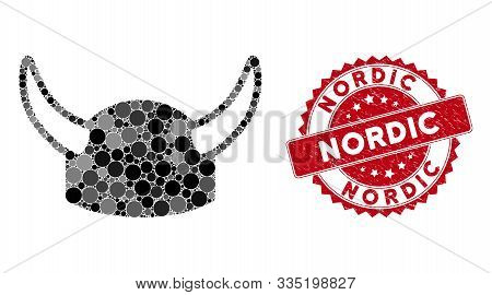 Mosaic Horned Helmet And Rubber Stamp Seal With Nordic Caption. Mosaic Vector Is Formed From Horned