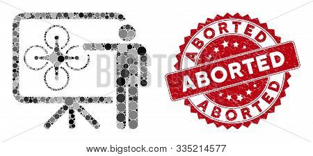 Mosaic Copter Presentation And Grunge Stamp Seal With Aborted Text. Mosaic Vector Is Formed With Cop