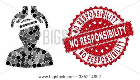 Mosaic Psychiatry Patient Cure Hands And Grunge Stamp Seal With No Responsibility Caption. Mosaic Ve