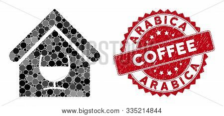 Mosaic Alcohol Bar And Rubber Stamp Seal With Arabica Coffee Phrase. Mosaic Vector Is Composed With